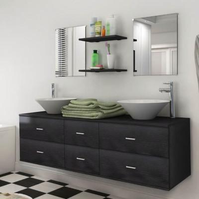 Mobilier de salle de bain avec lavabo 7 pcs Noir