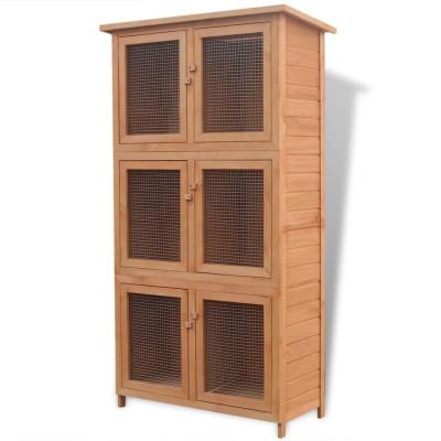 Cage pour animaux 6 compartiments Bois