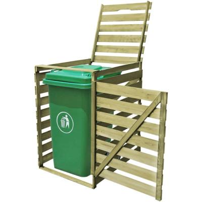 Cache-poubelle à une roue imprégné en bois 240 L