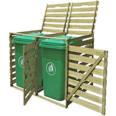 Cache-poubelle à roulettes double imprégné en bois 240 L