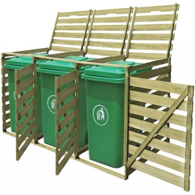 Cache-poubelle à roulettes triple imprégné en bois 240 L