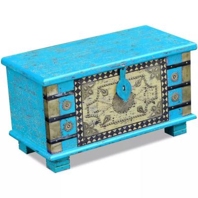 Coffre de rangement Bois de manguier bleu 80 x 40 x 45 cm