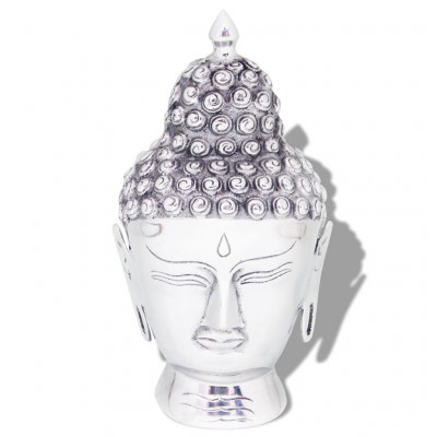 Décoration murale en forme de tête de Bouddha Aluminium Argenté